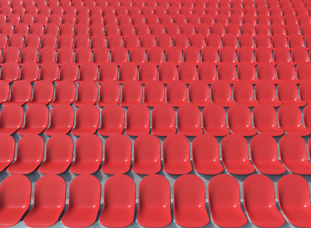 anti noise: Rows of red plastic seats at stadium, front view. Concept of stadium. 3D render