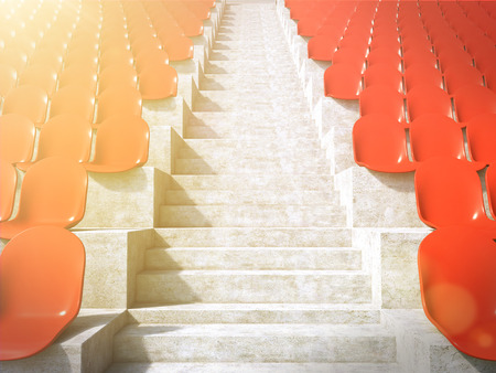 anti noise: Red plastic seats at stadium, aisle between them. Concept of stadium. Toned, filter. 3D render