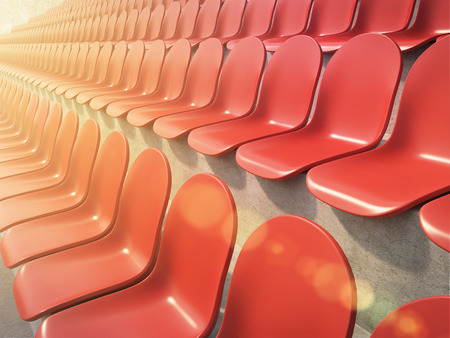 anti noise: Rows of red plastic seats at stadium, side view. Toned, filter. Concept of stadium. 3D render Stock Photo