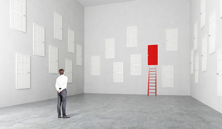 many doors: Businesswoman standing in room with many white doors, one red, ladder at it, Concept of choice.