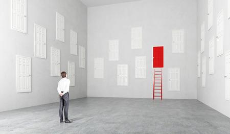 Zakenvrouw staande in de kamer met veel witte deuren, een rood, ladder op het, Concept van keuze.