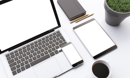 datebook: Laptop, smartphone and tablet with white screens, coffee, datebook and plant on table. Concept of work. Mock up. 3D render