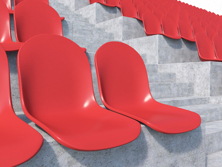 anti noise: Red plastic seats at stadium, side view. Close up. Concept of stadium. 3D render