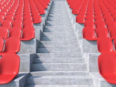 anti noise: Red plastic seats at stadium, aisle between them. Concept of stadium. 3D render