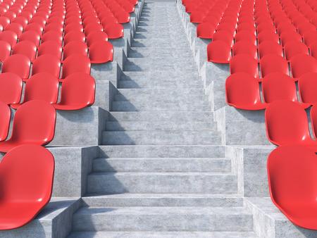 gazer: Red plastic seats at stadium, aisle between them. Concept of stadium. 3D render
