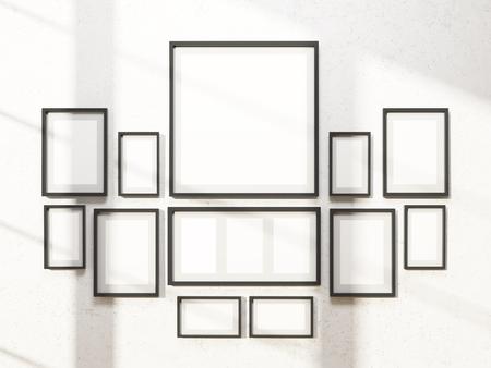 Muchos Marcos Blancos En La Pared, Una Ronda. Concepto De Exposición ...