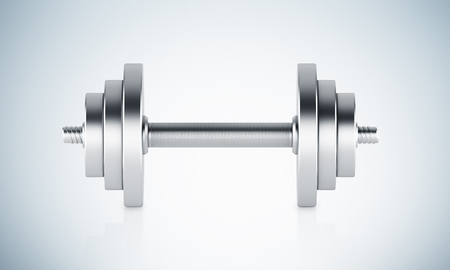 adjusting activity: Metal weight for sport. Grey background. Concept of training. 3D render