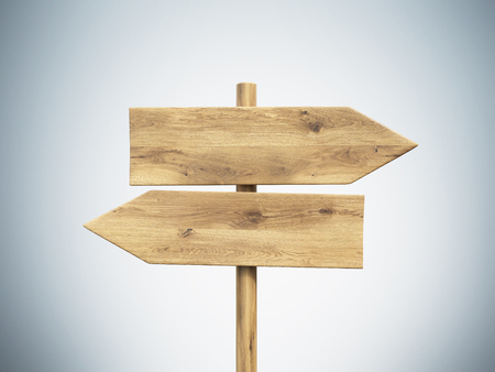 signpost: Wooden direction signs. Grey background. Concept of information. Mock up. 3D render