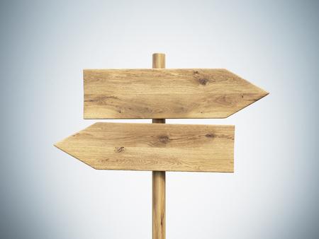 Wooden direction signs. Grey background. Concept of information. Mock up. 3D render