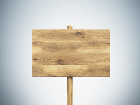 nameboard: Wooden nameboard. Grey background. Concept of information. Mock up. 3D render Stock Photo