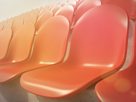 gazer: Red plastic seats at stadium, side view. Toned, filter. Concept of stadium. 3D render Stock Photo