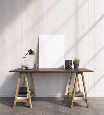 show plant: Blank frame on wooden table, books on and under table, lamp. Front view. Concept of decoration. Mock up. 3D rendering