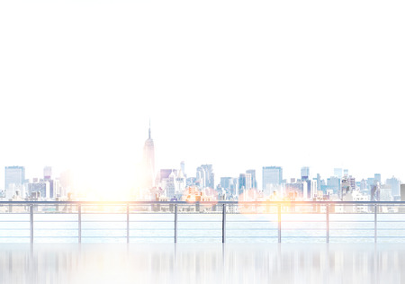 New York view from embankment. City center. Toned, filter. Concept of New York. 3D rendering