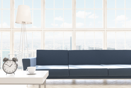 coffee table: Sofa at panoramic window, coffee table with alarm clock beside. Concept of modern home. 3D rendering
