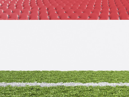 pitch: Blank banner around pitch, red seats. Front view. Concept of sport advertising. Mock up. 3D rendering