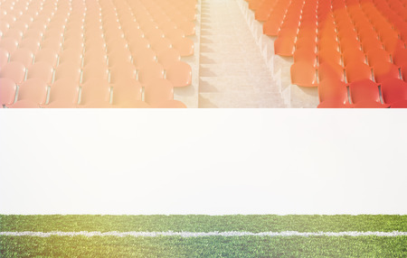 aisle: Blank banner around pitch, red seats, aisle between them. Front view. Toned, filter. Concept of sport advertising. Mock up. 3D rendering Stock Photo