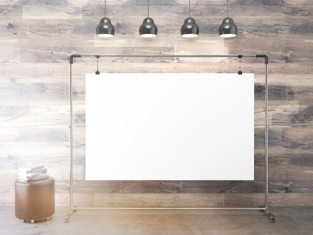 pouffe: Blank clip board under lamps, pouffe aside. Wooden background. Concept of presentation. Mock up. 3D rendering