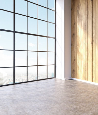 noone: Emty hall with panoramic windows and wooden walls. Loft. City view. Concept of new office. 3D rendering Stock Photo