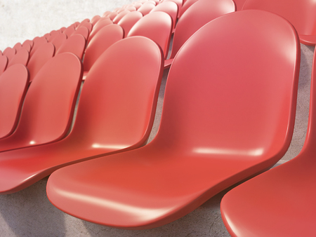 gazer: Red plastic seats at stadium, side view. Concept of stadium. 3D rendering Stock Photo