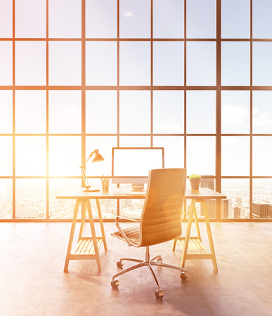 Workplace with computer and castor chair, hall with panoramic window. Loft. City view. Toned, filter. Concept of new office. Mock up. 3D rendering