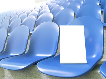 gazer: Placard on blue seat at stadium. Close up.