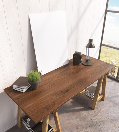 lamp window: Blank frame on wooden table, books on and under table, lamp, window to the right. 3D rendering