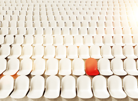 chosen one: Rows of white seats at stadium, one red. Toned, filter. Concept of chosen seat. 3D rendering