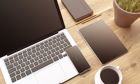 datebook: Laptop, smartphone and tablet with black screens, coffee, plant and datebook on wooden table. 3D rendering
