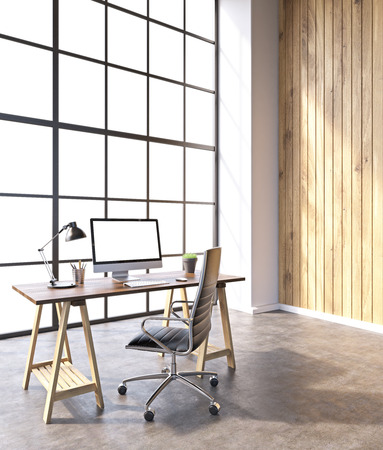noone: Workplace with computer and castor chair, hall with panoramic windows and wooden walls. 3D rendering Stock Photo