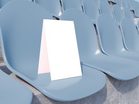 gazer: Placard on blue seat at stadium. Side view. Close up. 3D rendering Stock Photo