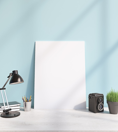 show plant: Blank frame on white table, plant, lamp. Front view. 3D rendering