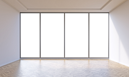 Empty office with panoramic window. Concept of new office. Mock up. 3D rendering 免版税图像