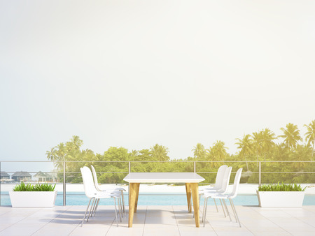clear out: White table in beach restaurant, palm trees and sea at background. Concept of holiday. 3D rendering