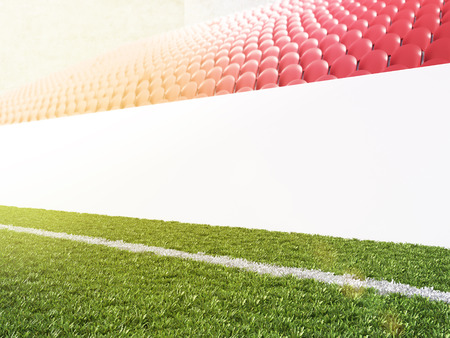 pitch: Blank banner around pitch, red seats. Side view. Concept of sport advertising. Mock up. 3D rendering Stock Photo