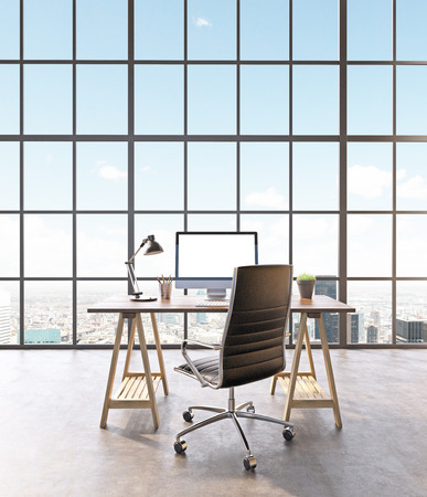 noone: Workplace with computer and castor chair, hall with panoramic window. 3D rendering
