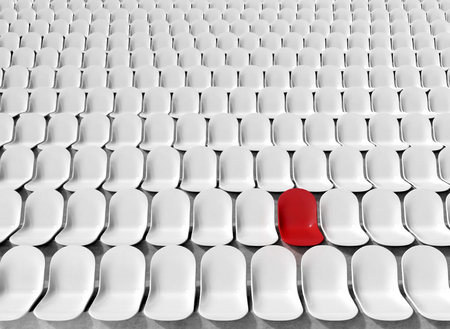 chosen one: Rows of white seats at stadium, one red. Concept of chosen seat. 3D rendering