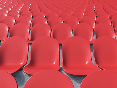 gazer: Red plastic seats at stadium, front view. Concept of stadium. 3D rendering