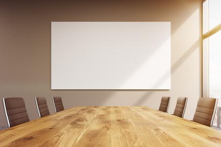 Spacieuse salle de réunion, fenêtre sur la droite, grande affiche blanche sur la table. Concept de réunion. Tonifié, filtre. Maquette. Rendu 3D