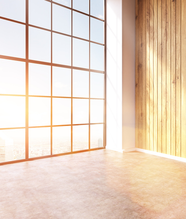 noone: Emty hall with panoramic windows and wooden walls. Loft. City view. Toned, filter. Concept of new office. 3D rendering