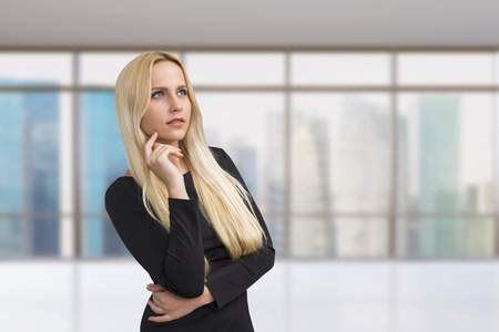 executive women: Pretty businesswoman in office with Singapore view. 3D Rendering
