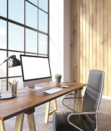 noone: Workplace with computer and castor chair, hall with panoramic windows and wooden walls. Loft. City view. Concept of work. Mock up. 3D rendering