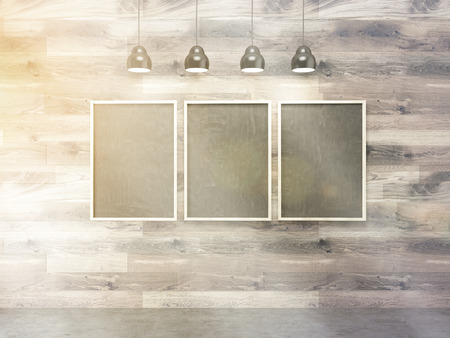 toned: Three blank picture frames on wooden wall. Toned image. Mock up, 3D Rendering