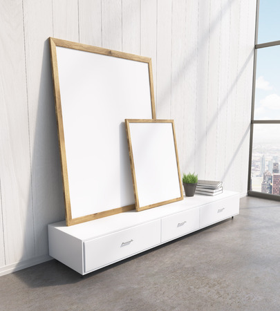 show plant: Two blank frames on white floor shelf, white wooden wall, window to the right. Concept of painting. Mock up. 3D rendering