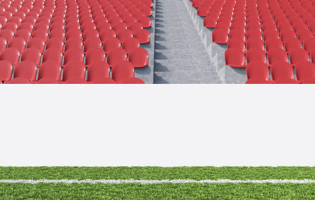 aisle: Blank banner around pitch, red seats, aisle between them. Front view. Concept of sport advertising. Mock up. 3D rendering