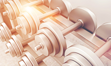 toned: Dumbbells of same weight in gym. Concept of training. Toned, filter. 3D rendering