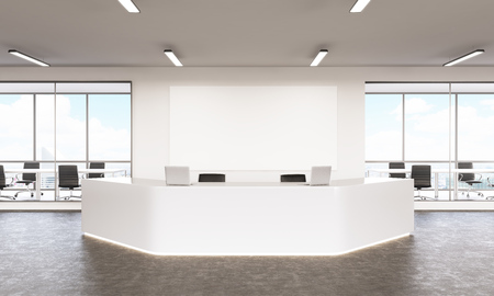noone: Empty white reception with laptops, board on wall behind, windows and meeting rooms at background, city view. Concept of reception. Mock up. 3D rendering Stock Photo