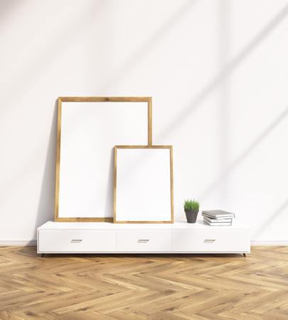 show plant: Two blank frames on white floor shelf, white wall. Concept of painting. Mock up. 3D rendering Stock Photo