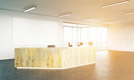 bill board: Sideview of sunlit interior with wooden reception and blank board. Mock up, 3D Rendering
