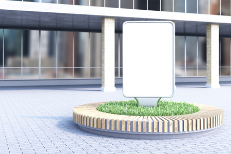 flowerbed: Blank advertising poster in flowerbed, building at background. Concept of city advertising. Mock up. 3D rendering