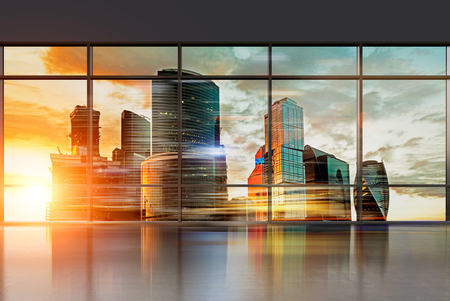 Moscow city view through office window, sunset. Filter, toned. Concept of business center. 3D rendering